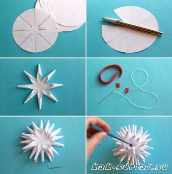 Как сделать объемные снежинки из бумаги, схемы