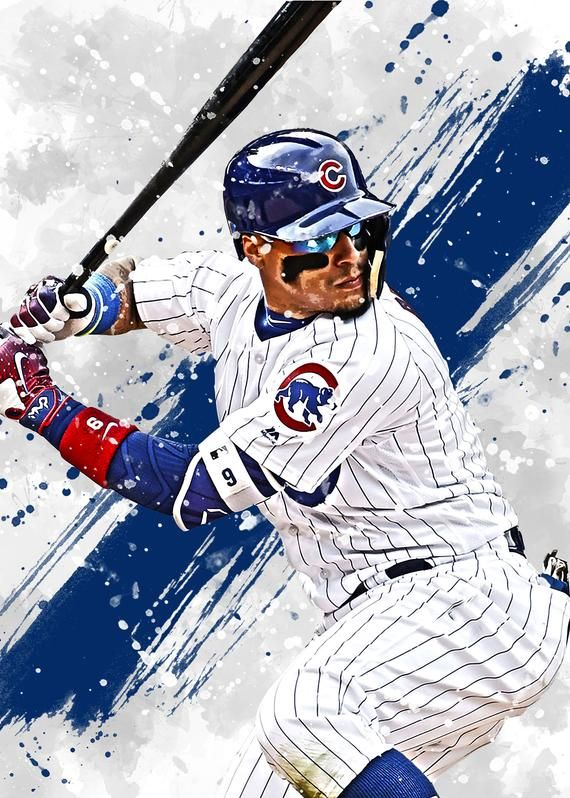 Javier Baez Chicago Cubs Poster Print Sports Art Baseball Etsy Chicago Cubs Posters Baseball Print Cubs Poster
