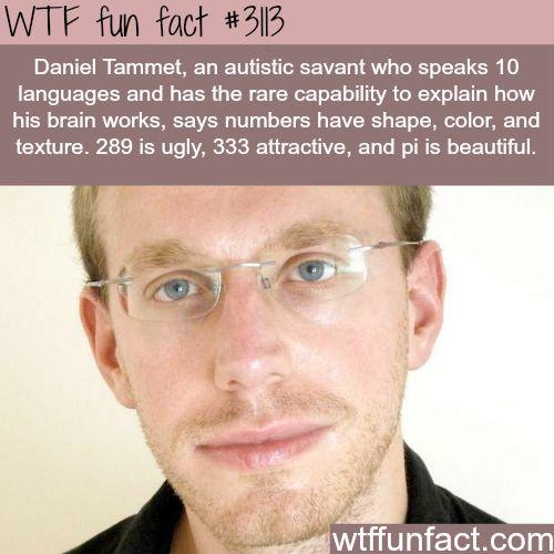 WTF fun fact #3113 ~ Daniel Tammet, an autistic savant