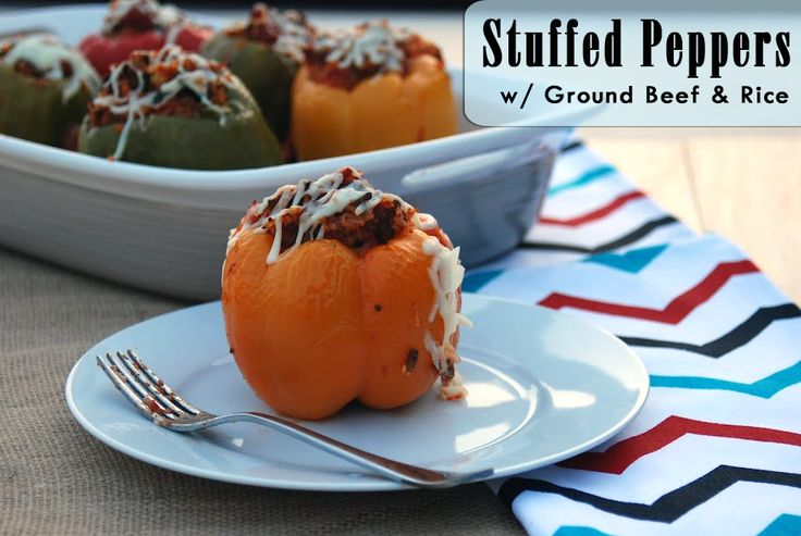 Stuffed Peppers with Ground Beef & Rice | Katie's Cucina