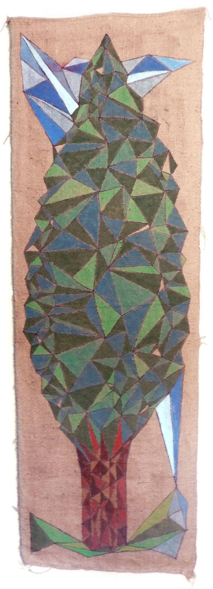 Allegoria (3) dell'umana condizione. Pittura. Arte. Acrilico su sacco di juta usato. cm 65 x 195