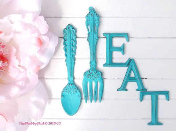Kitchen Wall Decor / Aqua / Fork and Spoon Decor / EAT Sign/ Wall Word / Shabby Chic / Shabby Chic Decor