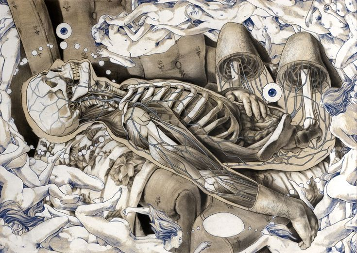 Michael Reedy has created a beautifully grotesque series of anatomical figure drawings. His ability to use and omit color when needed shows his refine...