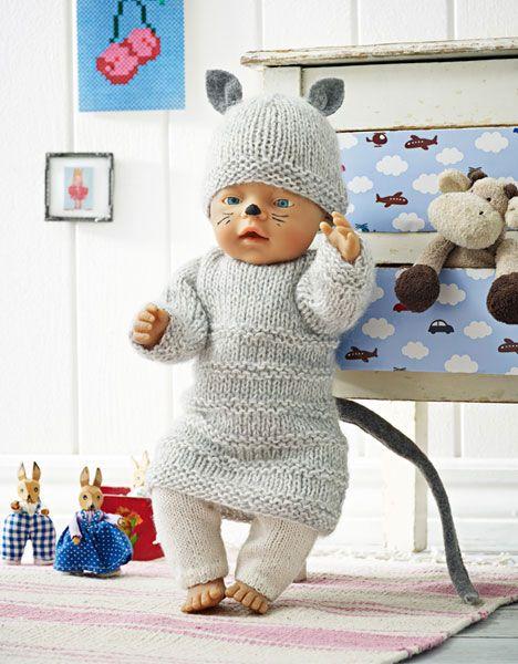 Kattekostume til BabyBorn dukken. Fastelavn.