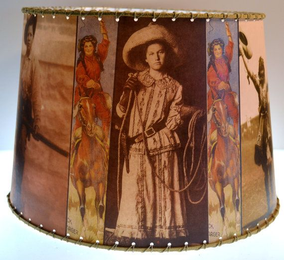 Cowgirl Western Decor Lamp Shade 8 x 10 clip top by shadyplace