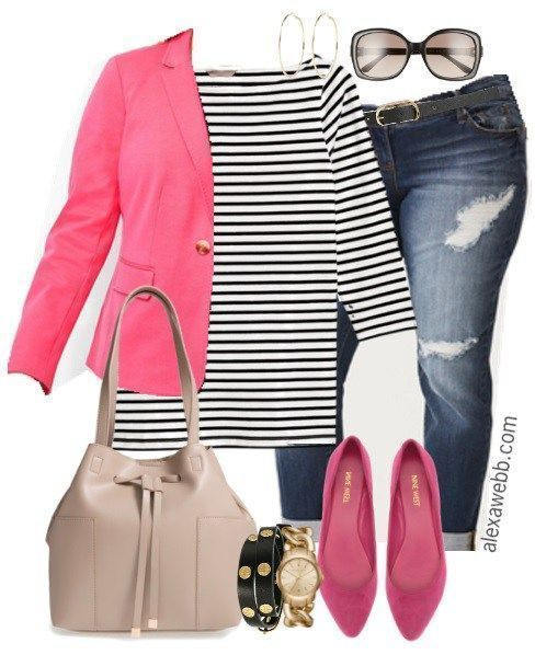 Plus Size Stripe Top Outfits - Plus Size Fashion for Women - alexawebb.com #alexawebb #PlusSizeDressesForWomen