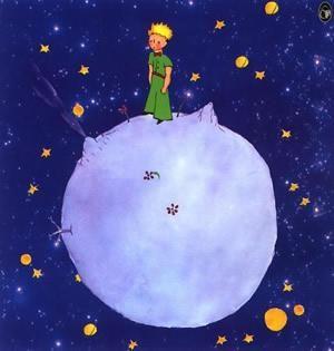 Disegno del piccolo principe su un asteroide