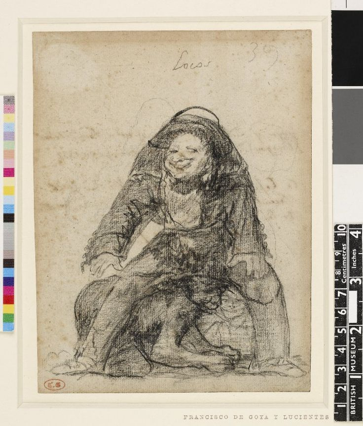Image gallery: drawing - Lunatics; two crouching figures beneath the legs of a grinning man. c.1825-28 Black chalk and crayon