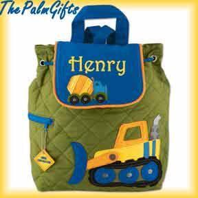 BEST SELLER - Boy Toddler Backpack Construction Truck Quilted Backpack Embroidered- Backpacks for Kids- Preschool Backpack- Backpack
