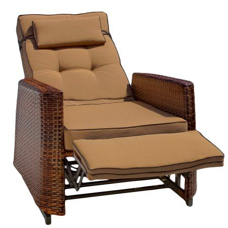 Noble House Napa Brown Wicker Outdoor Recliner Rocking Chair
