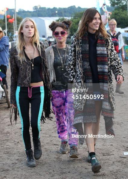 Mary Charteris Jaime Winstone and Alexa Chung attends the Glastonbury... News Photo 451450592