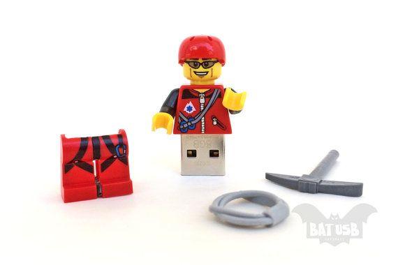 BAT™ 8GB USB flash drive - Memory Stick - Lego® original Minifigure - Climber with gear and base - Lego usb with legs cap - Minifigure usb by Think4HandmadeArt, €35.00