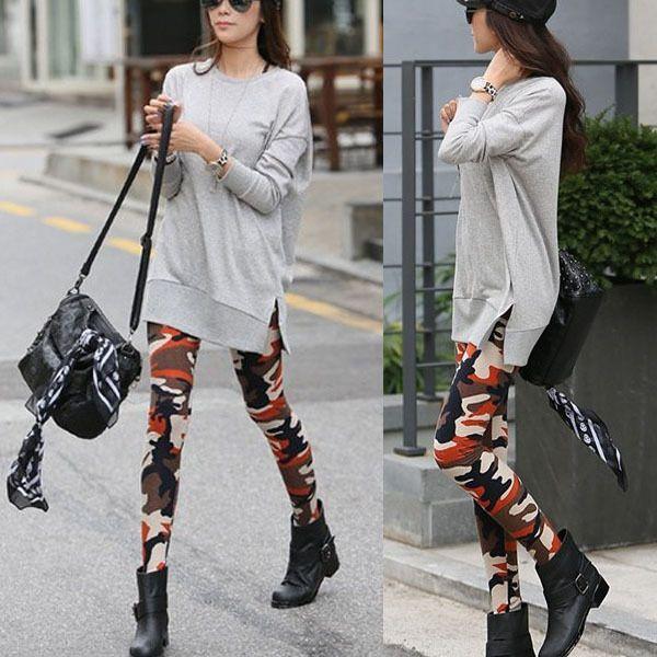 Брюки граффити стиль женщин тонкий камуфляж армии колготки штаны тощий брюк