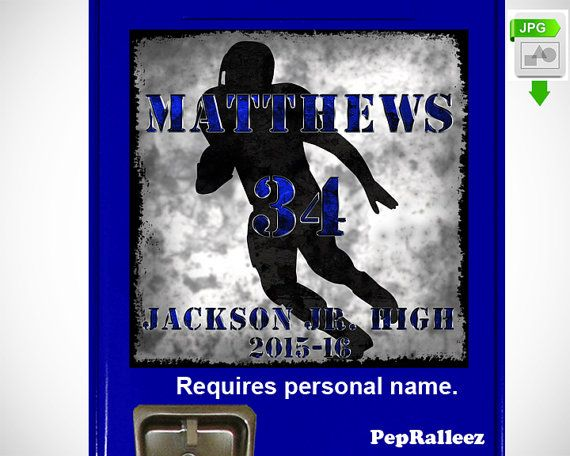 School Locker Sign Decoration, Personalized Football Locker Sign Decoration, PepRalleez  This dynamic grunge football player graphic with grunge text