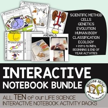Life Science Interactive Notebook - a YEAR of Life Science & Biology INB Activities - 200+ to cover your entire curriculum! It's a comprehensive Life science interactive notebook bundle to last you the entire year as you cover the scientific method, cells, genetics, evolution, classification, human body, and ecology.