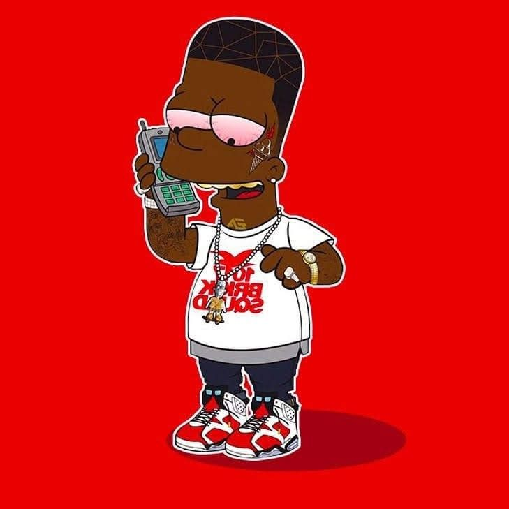 Bart Simpson Music Artwork Black Anime Characters Simpsons Tattoo Gucci mane supreme wallpaper