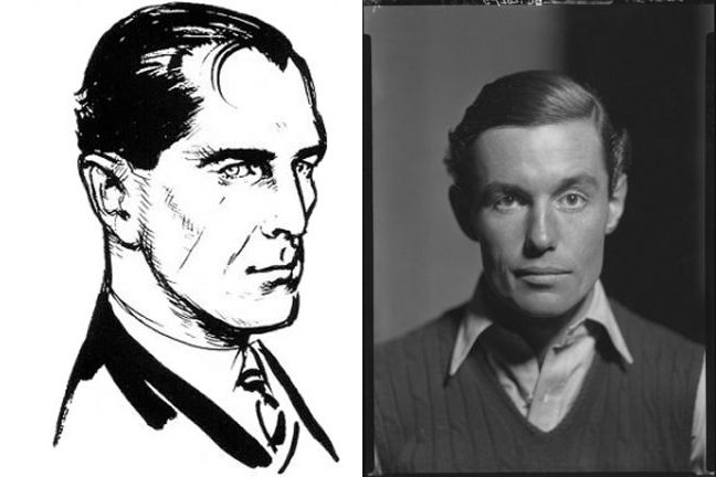 Left: Fleming-commissioned sketch of James Bond. Right: Peter Fleming (Ian's brother).
