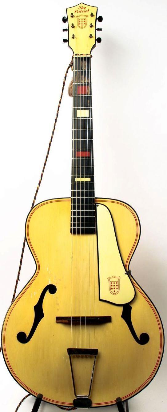 frettedchordophones:  1944 Kay Patriot archtop Guitar =Lardy's Chordophone of the day - a year ago --- https://www.pinterest.com/lardyfatboy/ ~