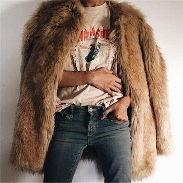 Fur coat, vintage tee and jeans