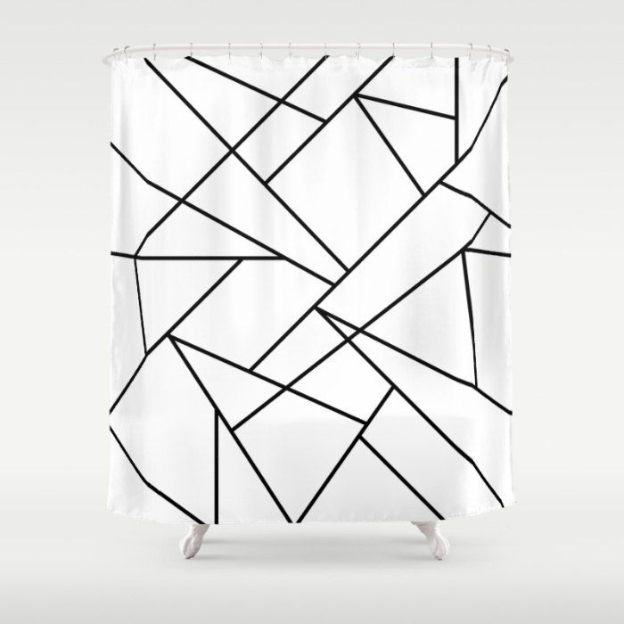 36 colours, Geometric Lines Shower Curtain, Modern Scandinavian style, bathroom shower curtains, black and white, Nordic bathroom decor by ThingsThatSing on Etsy