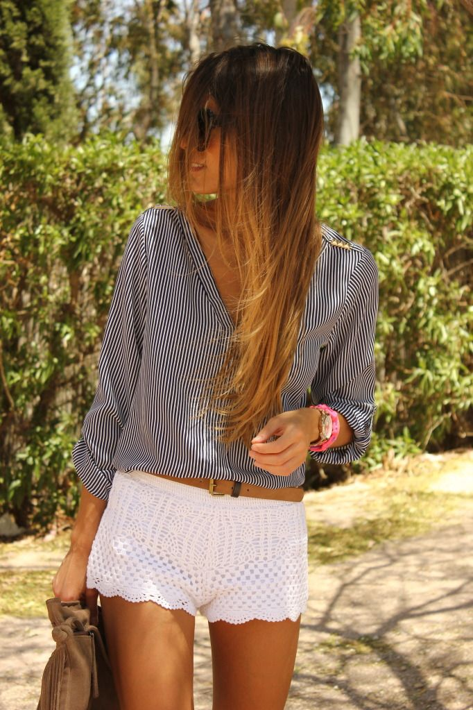 white lace + gray top