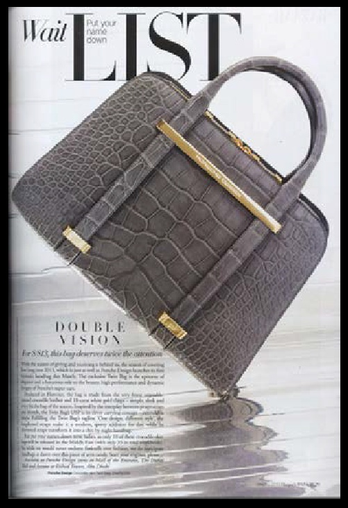 The Porsche Design Twin Bag in Crocodile leather was featured in Harper's Bazaar Magazine