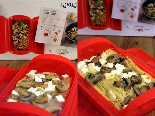 Espaguetis con queso y champiñones