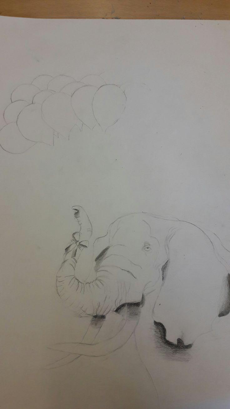 Ik heb deze les de strik gearceerd en de olifant en ik heb er ballonnen bij getekend. Ik vind de strik tekenen makkelijk maar de vorm van de ballonnen best moeilijk.