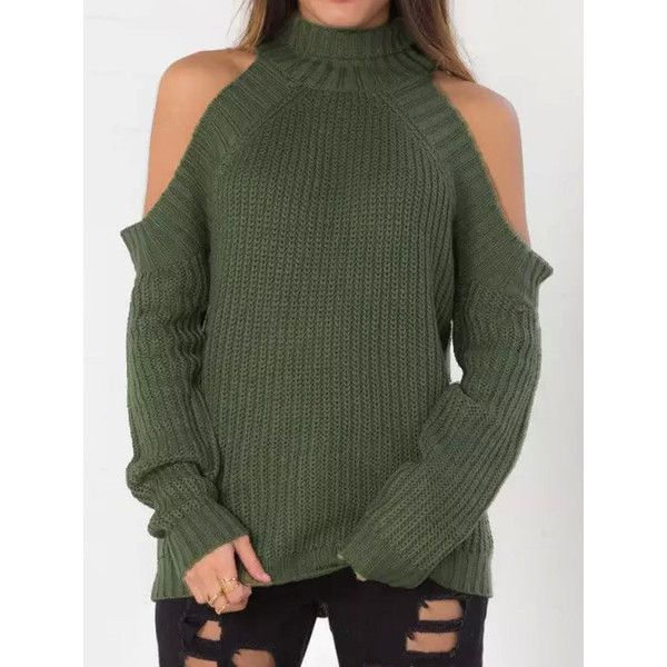 Army green high neck cold shoulder long sleeve sweater 31 liked