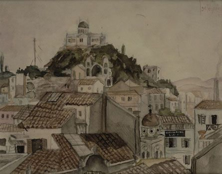 The Observatory from a house near Monastiraki, 1925 (Water-colour on paper)