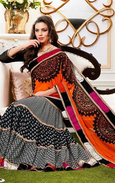 Picture of Radiant Orange and Black Designer Lehenga Style Saree