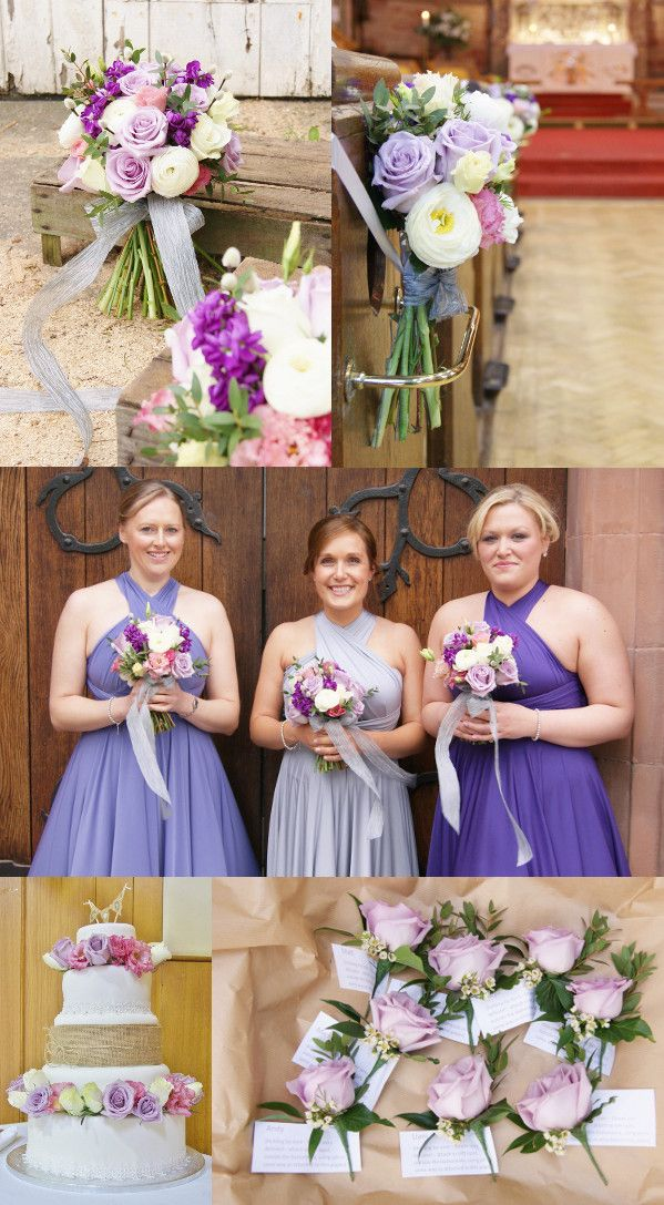Spring vintage-chic wedding flowers of lavender ocean song roses, pussy willow, purple stock, white ranunculus and frilly pink lisianthus. Florissimo, Shropshire