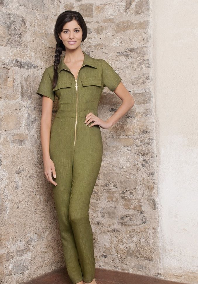 Moss Green Jumpsuit for Salon + Spa wear by Diamond Designs Ireland