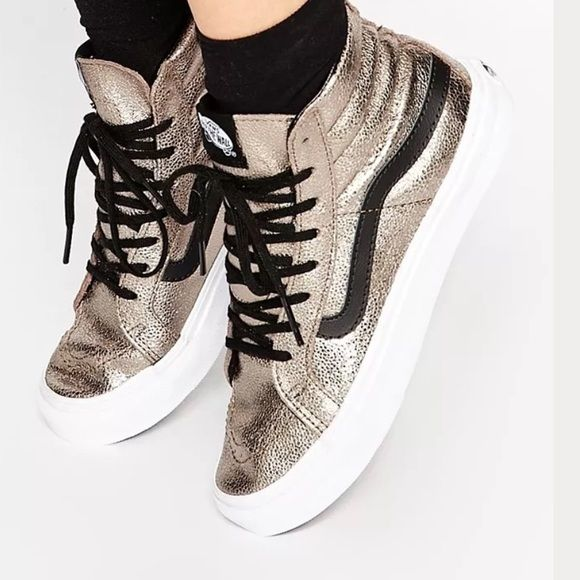 6adf99e27ee5b6 METALLIC Vans Sk8 hi Skate Hi High Top sneakers 11 This is a pair of VANS  SK8-hi High Top sneakers in Metallic upper with black …