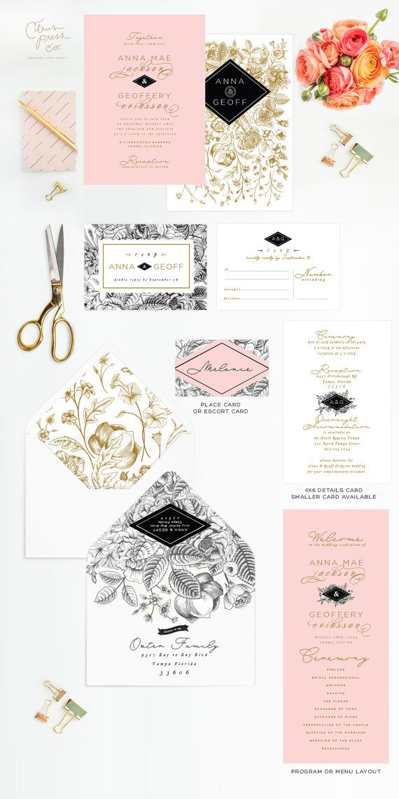 Garden Wedding Invitation rose in black and white, pink, illustrated Rose, Shabby Chic, vintage Romantic invite