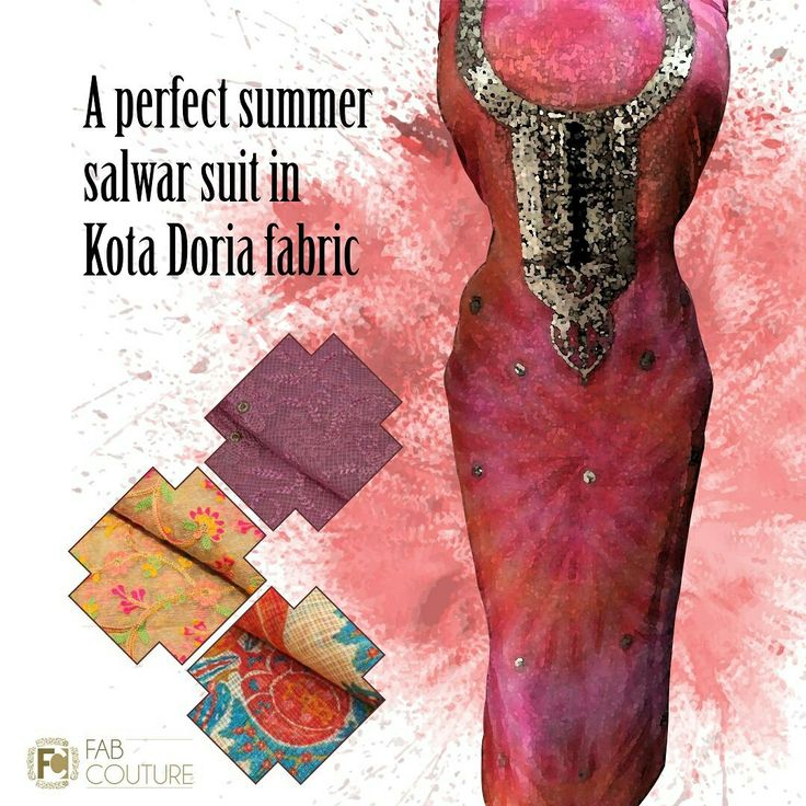 A perfect salwar suit in kota doria fabric only  at Fab Couture.   Grab your fabric at  https://fabcouture.in  #FabCouture! #DesignerFabric at #AffordablePrices #DesignerDresses #Fabric #Fashion #DesignerWear #ModernWomen #DesiLook #Embroidered #WeddingFashion #EthnicAttire #WesternLook #affordablefashion #GreatDesignsStartwithGreatFabrics #LightnBrightColors #StandApartfromtheCrowd #EmbroideredFabrics