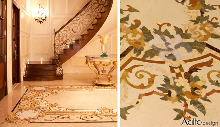 This beautifully appointed luxury home features customizedfrench style medallions and borders in inlaid stone paired with dimensional plaster moulding.