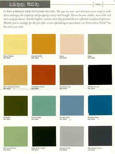suburban modern paint colors from Sherwin Williams--check the lower left for the green I love, plus the subtle blues and greys.