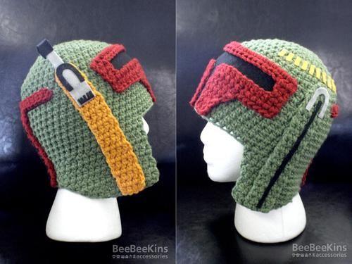 Crochet pattern for a Star Wars Boba Fett helmet/hat