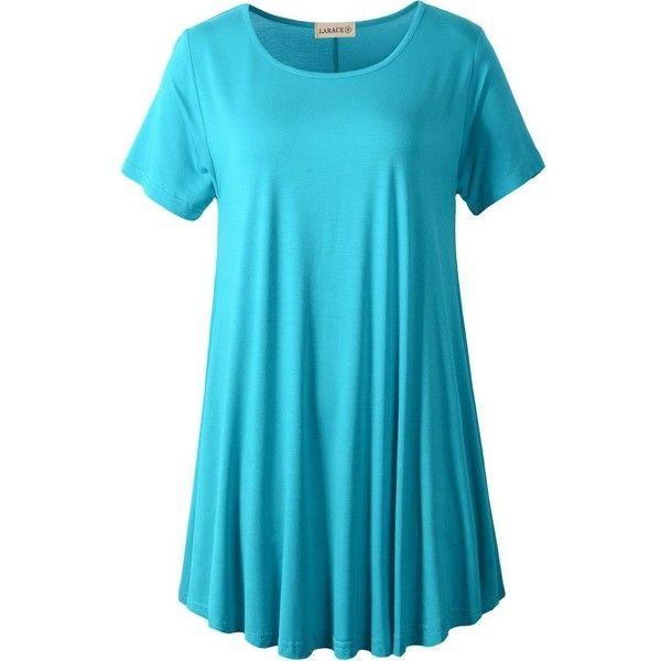 LARACE Women Short Sleeves Flare Tunic Tops for Leggings Flowy Shirt (36 ILS) ❤ liked on Polyvore featuring tops, tunics, knit tunic, shirt top, short sleeve tops, short sleeve knit tops and flare shirts