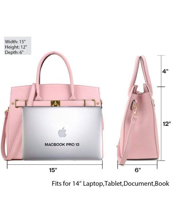 63ecde19685e Women Large Handbag Designer Purse 2 Pieces Set Leather Satchel Top Handle Shoulder  Bag - Litchi Leather-pink - CP18537QHWD  Bags  gifts   ...