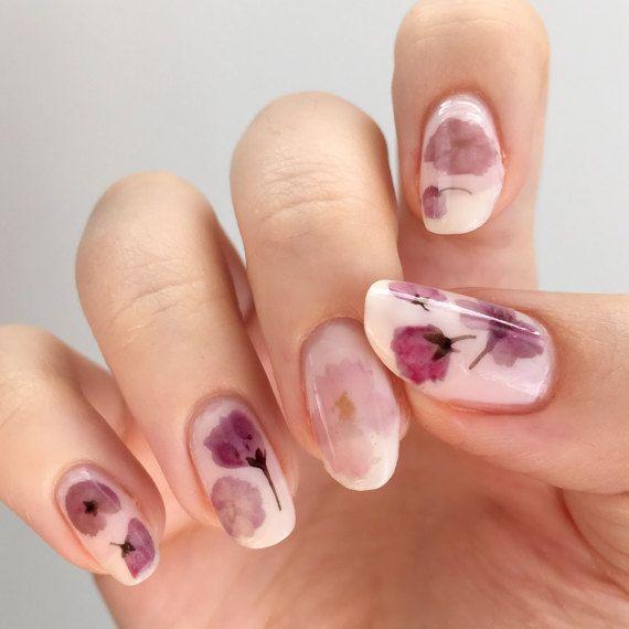Pressato in ciliegio Sakura fiori Design acqua Slide Nail decalcomanie/tatuaggi/chiodo adesivi