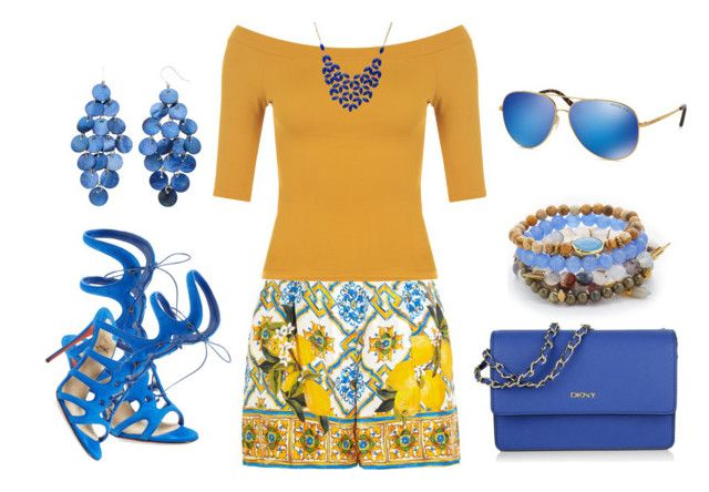 """""""Yellow/blue"""" by silviaswan ❤ liked on Polyvore featuring Dolce&Gabbana, WearAll, Christian Louboutin, DKNY, Lacey Ryan, Michael Kors and Alexa Starr"""