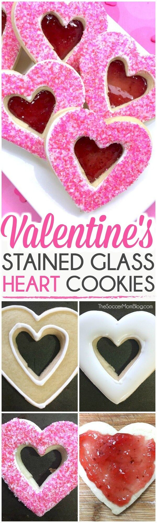 "These stained glass heart cookies make an absolutely gorgeous Valentine's Day treat! Real from-scratch sugar cookies with sparkling pink icing and a jelly ""stained glass"" cutout center. #valentinesday #cookies via @https://www.pinterest.com/soccermomblog"