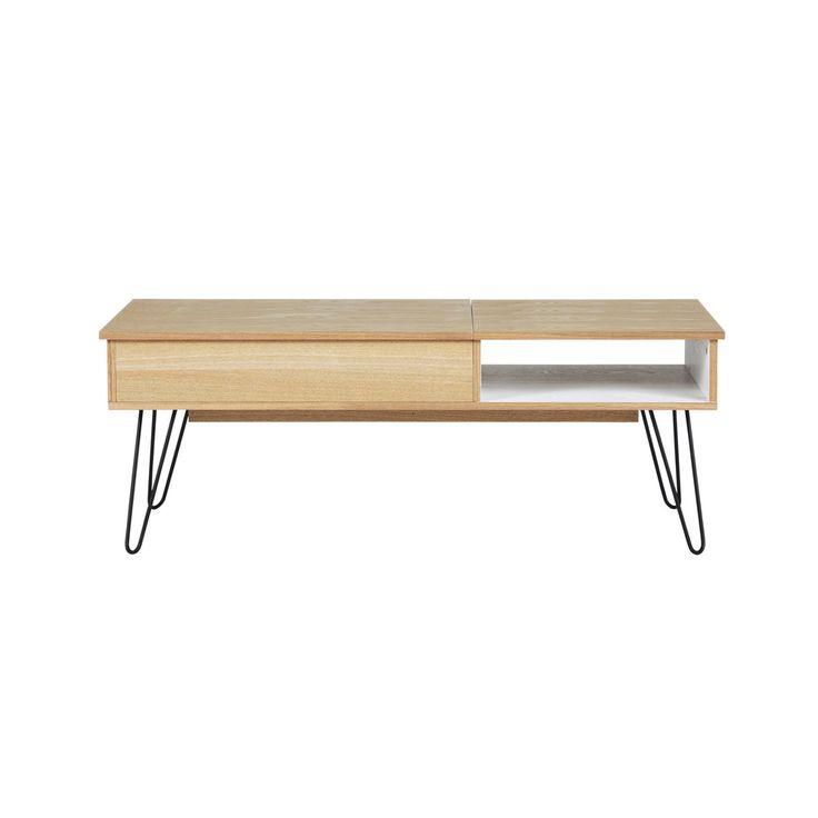 Table basse vintage en bois et métal