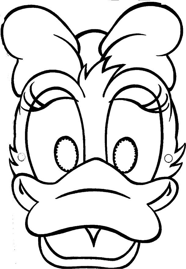 mask printable | Coloring Pages of Disney Character Daisy Duck Mask