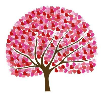 Beautiful and romantic pink tree illustration