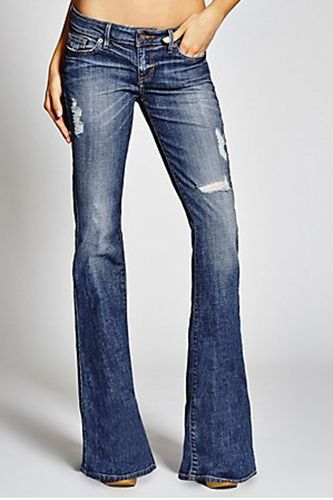 GUESS Low-Rise Mini Bell Jeans, $48.74, available at GUESS.