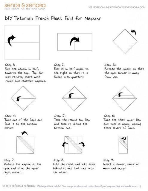 basic table napkin folding instructions