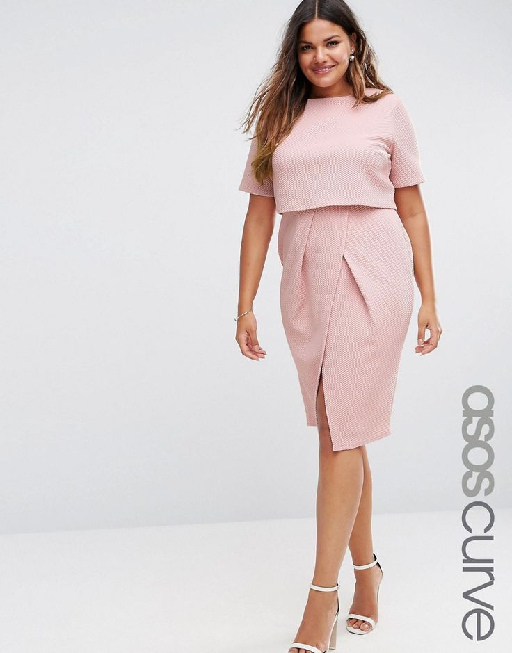ASOS CURVE Double Layer Textured Wiggle Dress